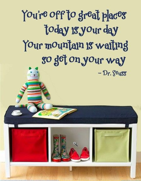 WALL DECAL You\'re off to Great Places Dr. Seuss Childrens Wall Quote ...
