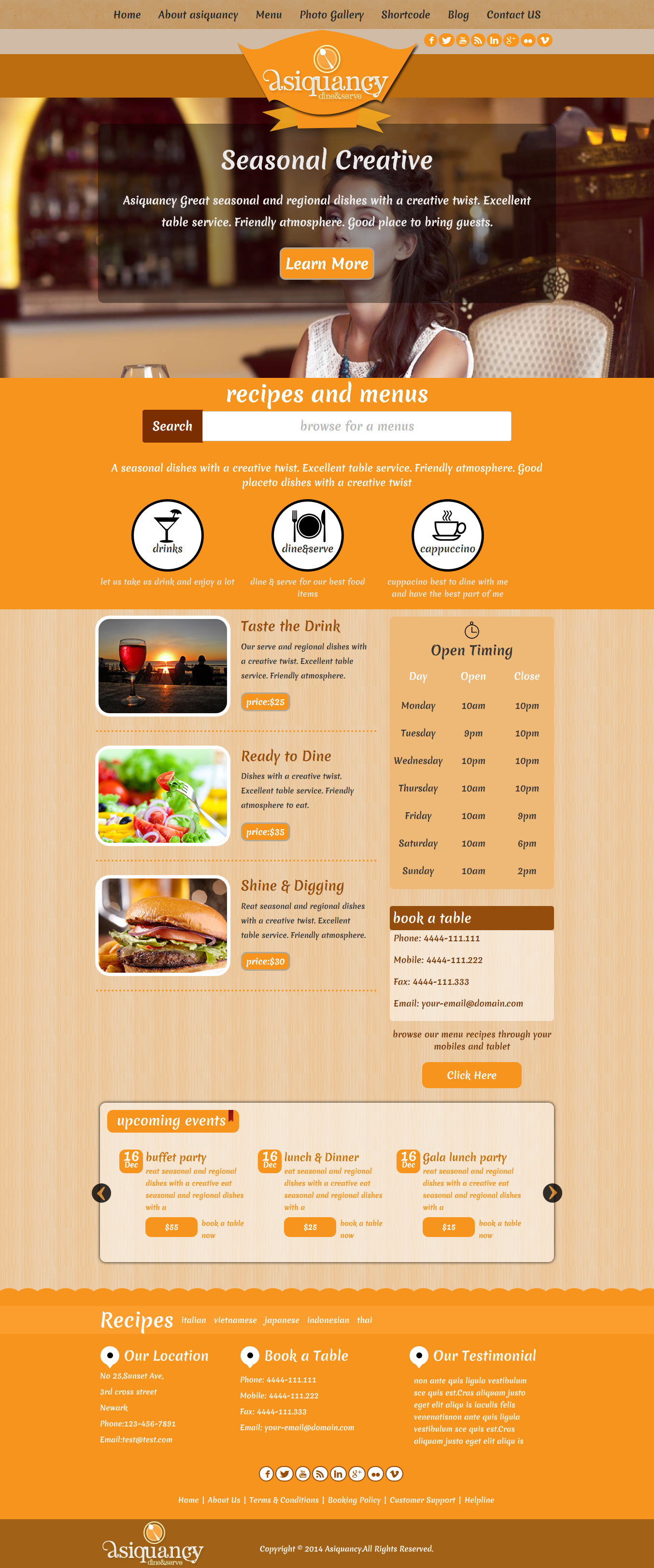 Asiquancy Premium Restaurant WordPress Theme
