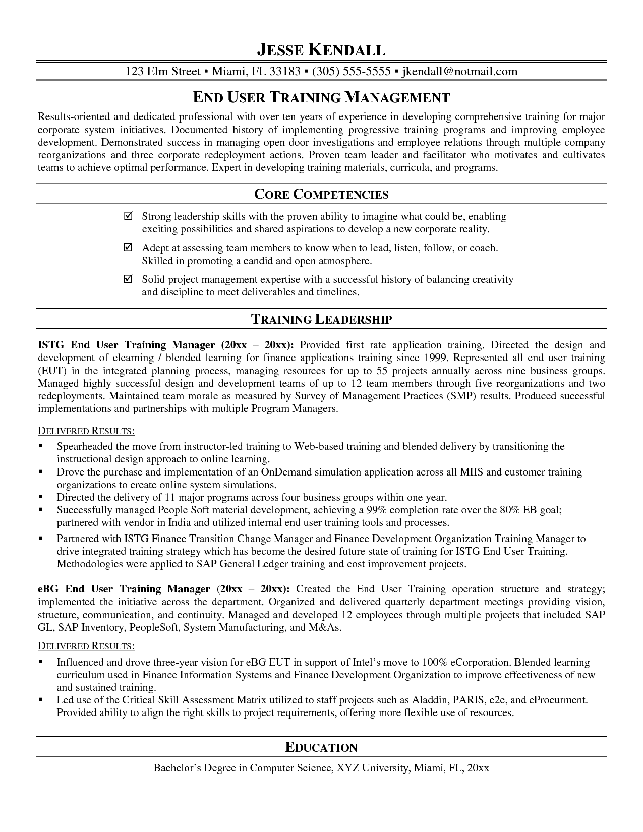 Training Manager Resume o