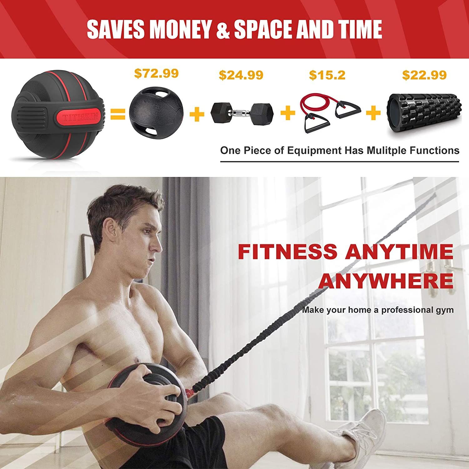 20LBS resistance rope Details about  /TITISKIN All-in ONE Home Gym Workout Equipment with