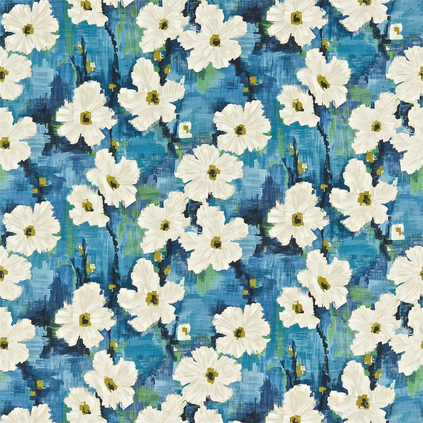 Harlequin  Impasto Lisanne Floral Blue Cotton Curtain Upholstery Craft Fabric