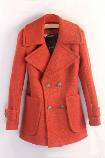Preppy Style Double Breasted Wool-blend Coat $103