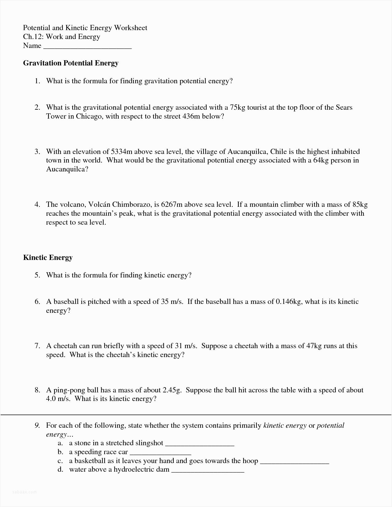 17 Introduction to Energy Worksheet Answers SiInc.com | Best ...
