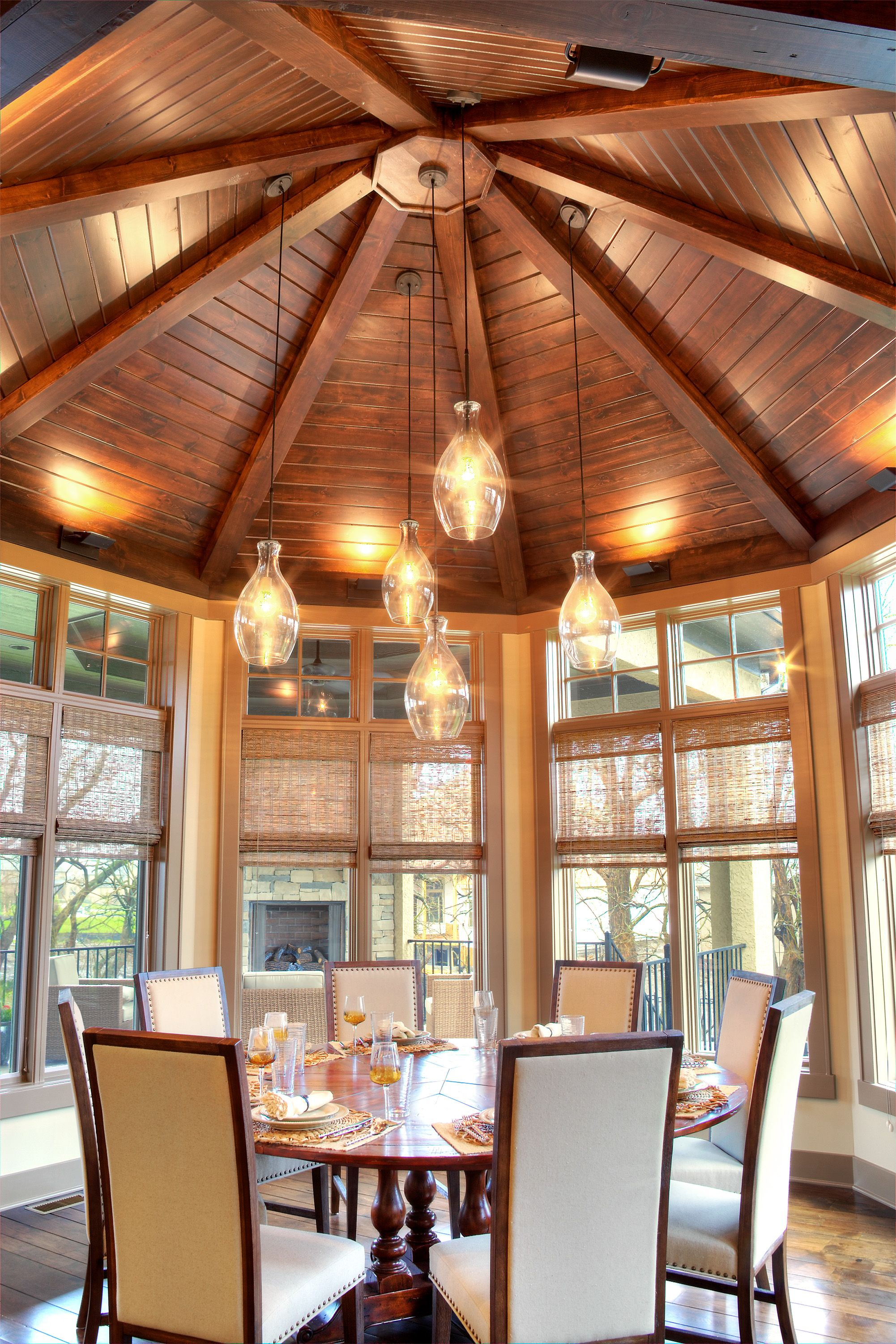 This amazing octagonal dining room with a vaulted wood for Wood vaulted ceiling