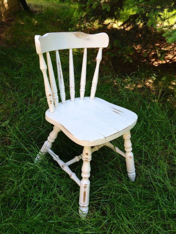 Shabby Chic Upcycled Vintage Distressed Antique White Chair