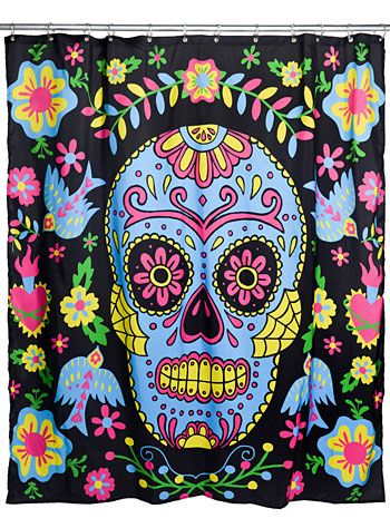 Day Of The Dead Darling Shower Curtain Buy It At Shopplasticland Com Sugar Skull Shower Curtain Felt Halloween Skull Shower Curtain