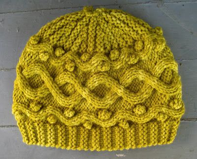 Free Knitting Pattern For A Cable And Bobble Hat Knit Sideways