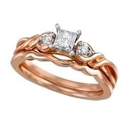 The pink hue of this exceptional rose gold and diamond engagement ring/wedding band are a wonderful reflection of lifelong romance!
