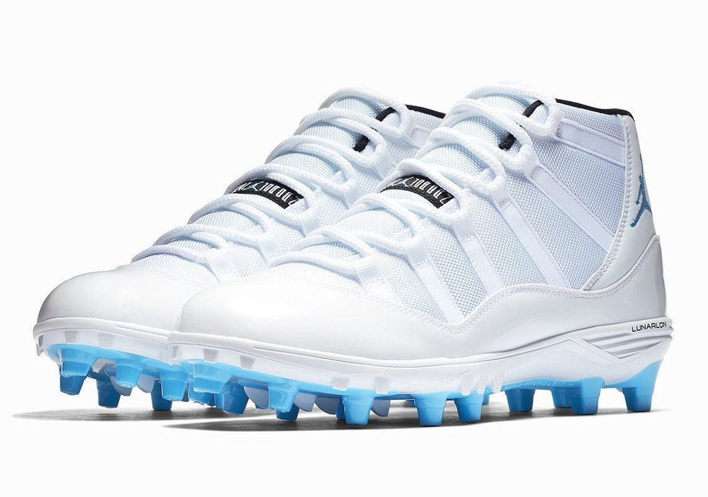 368223df3e9c Jordan XI Retro TD Mens Football Cleats 9.5 White University Blue  Jordan   FootballShoes