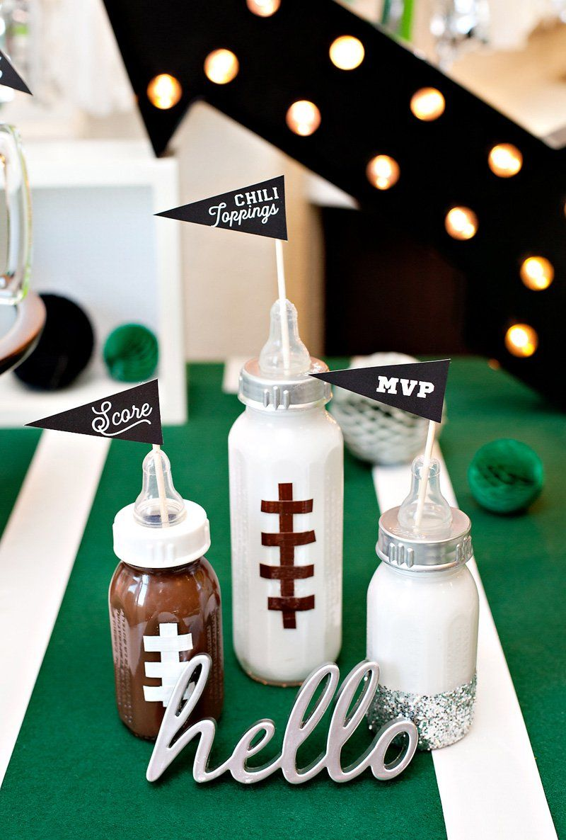 DIY Football Baby Bottles   Baby Shower Decorations