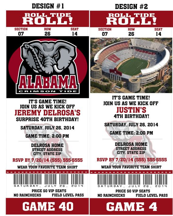 Printable Alabama Crimson Tide College Football Birthday Party - ticket invitation