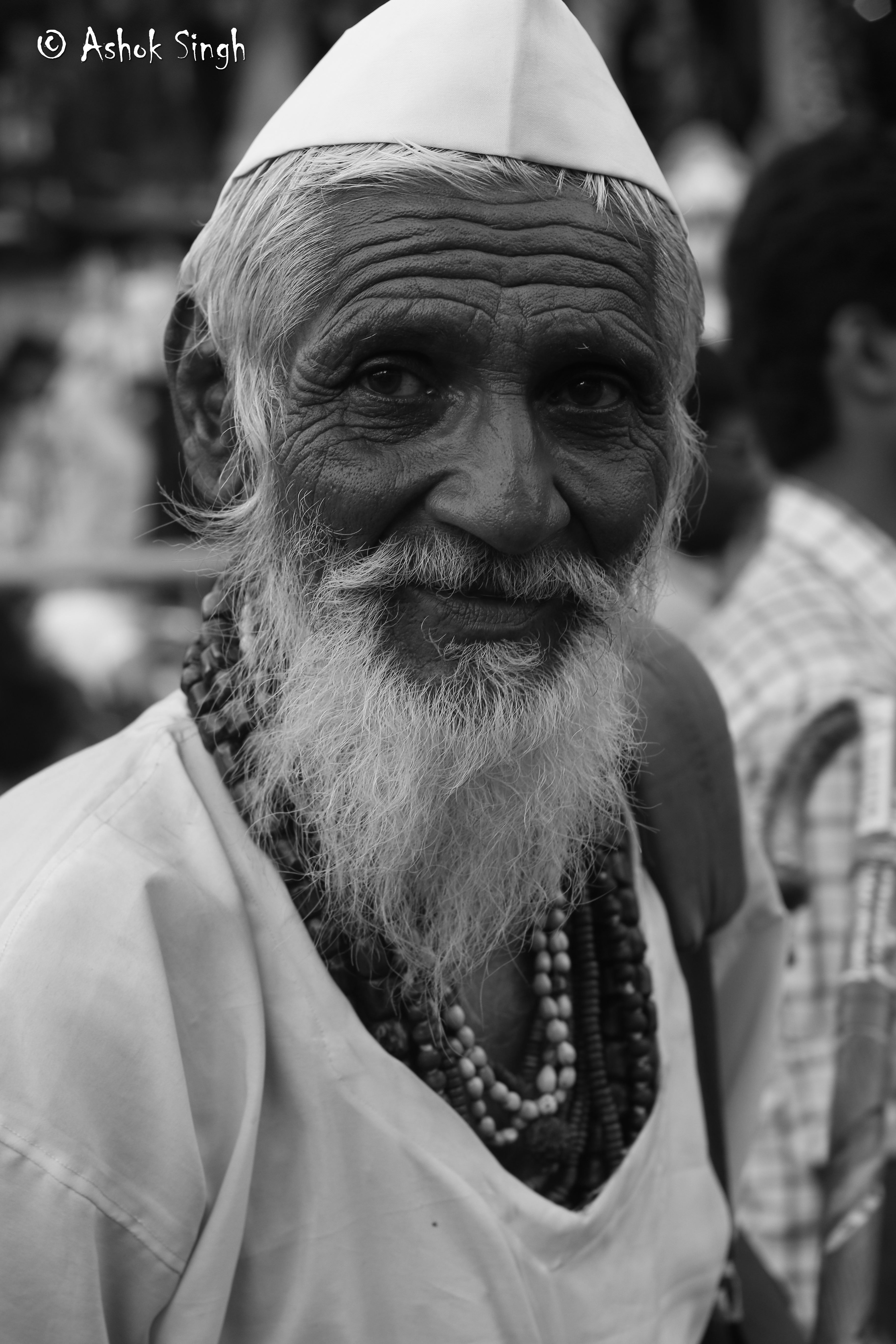 Old indian man black white seamedu student ashok singh doing his degree in photography