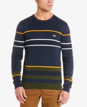 d19f0426fb02 Lacoste Men s Regular-Fit Colorblocked Stripe Sweater - Blue 4XL ...