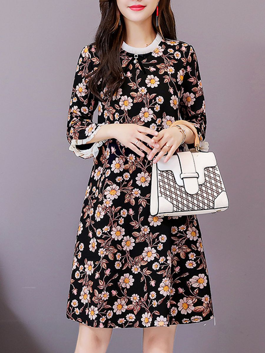 28f37044a8c Round Neck Printed Daily Shift Dress in 2019