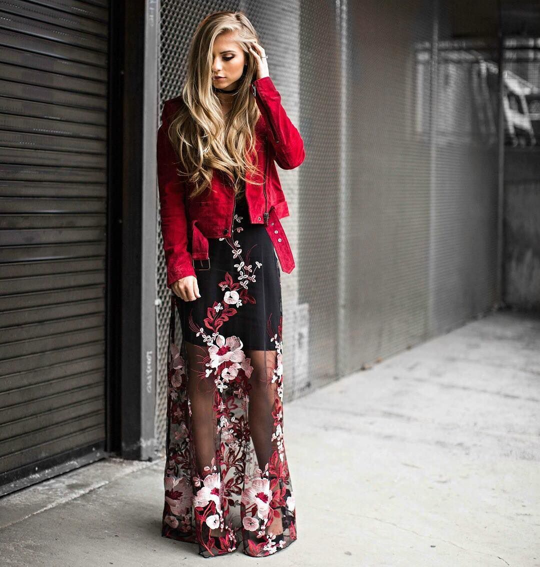 5be9d2259589e1 crushing over this look by @jessakae wearing our work the bloom embroidered  maxi & red suede moto jacket ❤ 🌸 (shop link in bio) #lovelulus # ...
