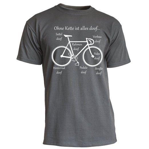 """Nukular T-Shirt """"Ohne Kette ist alles doof... (Rennrad/Fixie)"""", Farbe graphit, Größe L"""