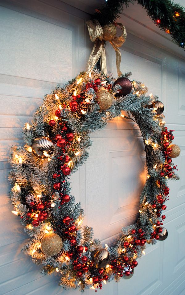 Hang A Large Wreath On Your Garage Door From The Home Depot Style