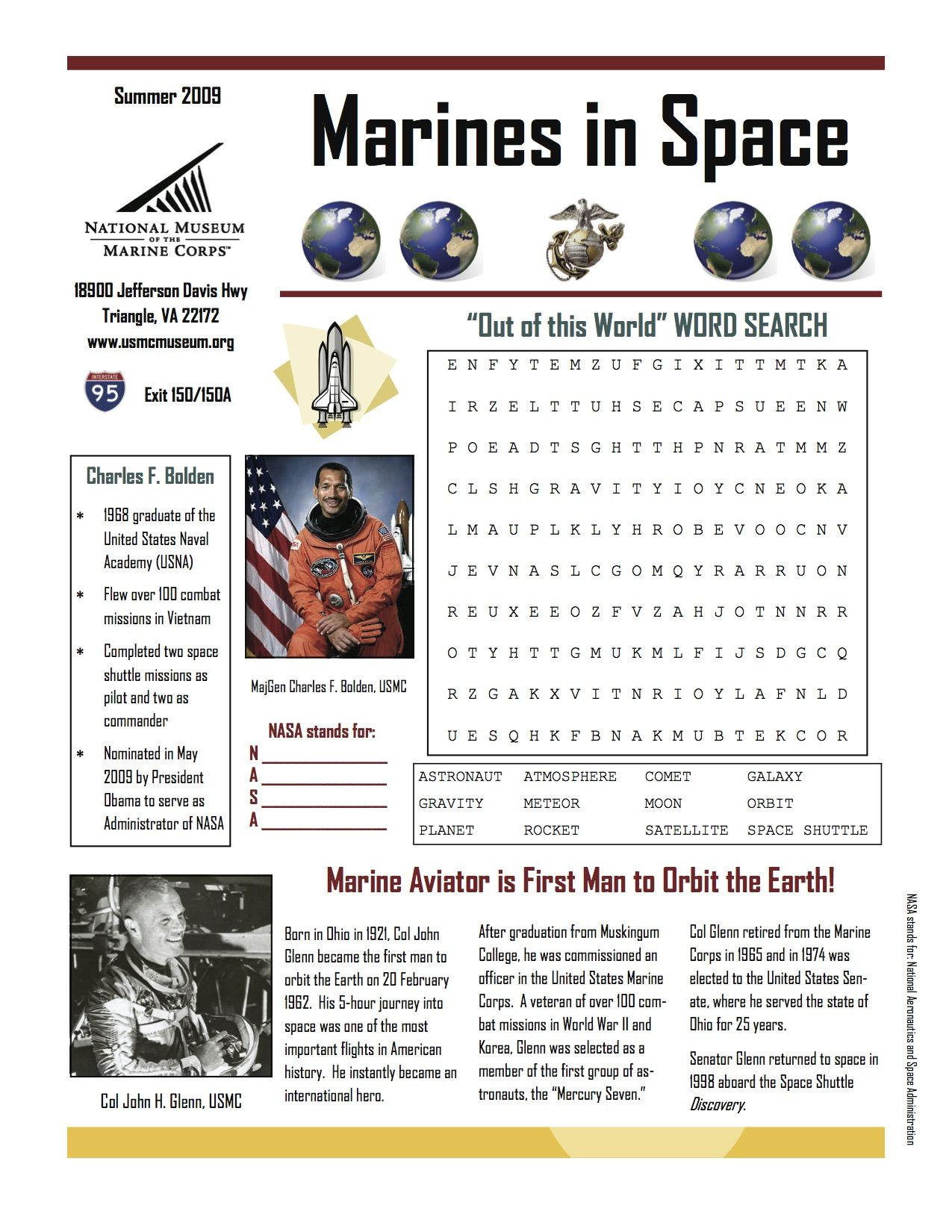 The United States Marine Corps Marines In Space Worksheet