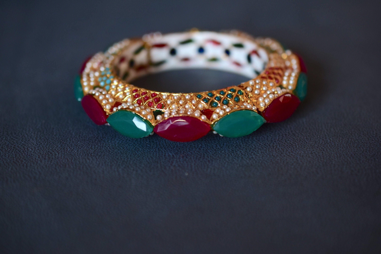 Indian Ethnic Gold Plated Green  Bangle 4 Pcs Wedding Polki Bollywood Jewelry