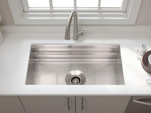 K 5540 Prolific Under Mount Stainless Steel Sink With Accessories Kohler Single Bowl Kitchen Sink Undermount Kitchen Sinks Sink