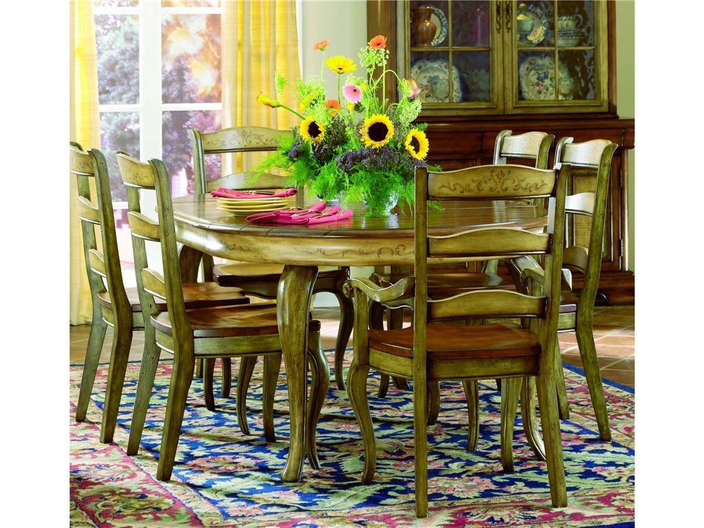 Vineyard round dining table w 1 20 leaf 478 75 201 for Round dining room sets with leaf
