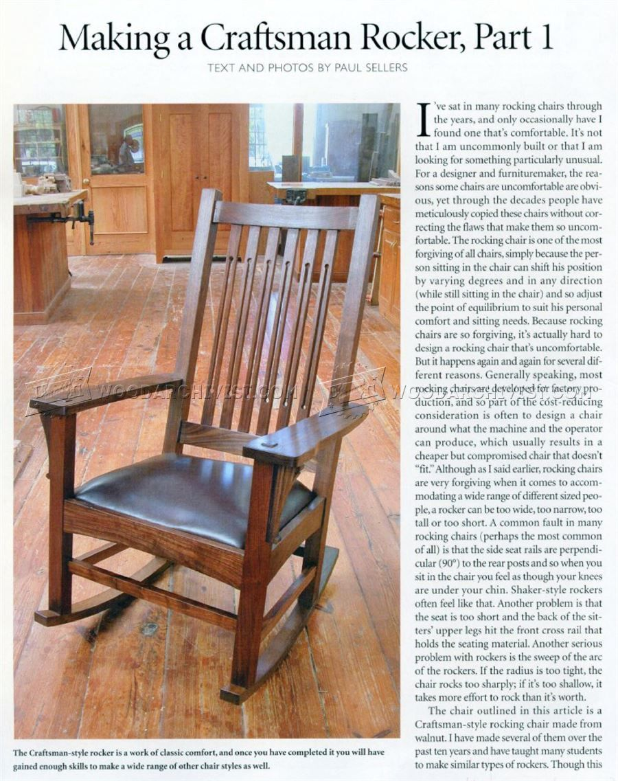 How to make a simple wooden rocking chair -  1861 Craftsman Rocking Chair Plans Furniture Plans