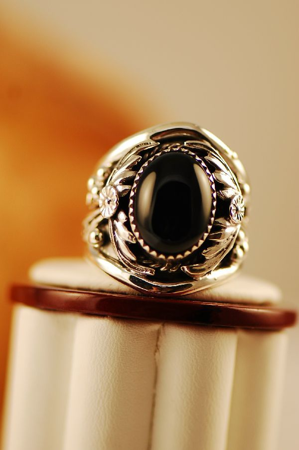 Navajo – Sterling Silver Black Onyx Ring Size 11 - See more stunning jewelry at StellarPieces.com!