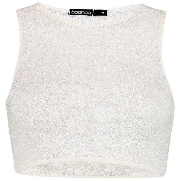 Boohoo Ellie Cream Lace Racer Crop Bralet | Boohoo (895 RUB) ❤ liked on Polyvore featuring tops, bralette crop top, white top, lace bralette top, lacy tops and cream top