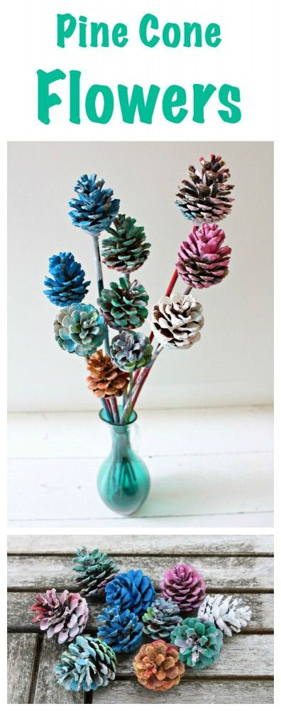 Beautiful Painted Pine Cone Flowers Great Kids Craft