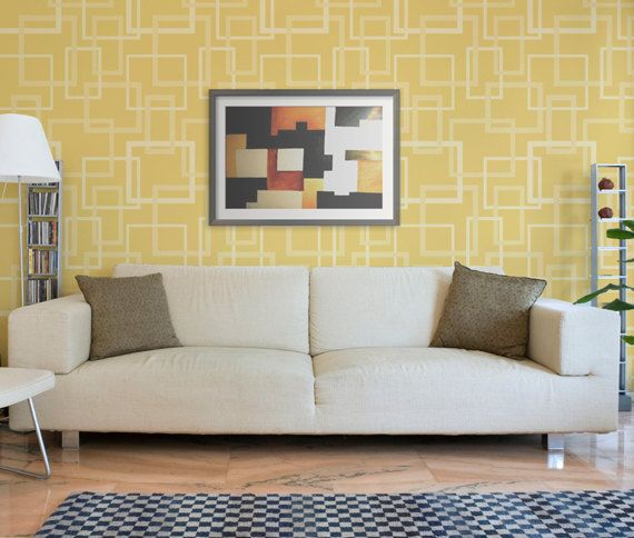 Modern Wall Stencil Hip to be Square Allover Stencil for Easy ...