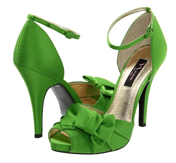 Strappy Green Ankle Wedding Heels