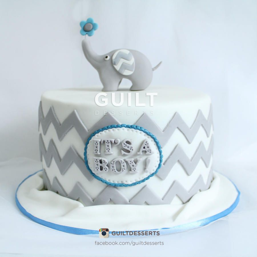 Elephant Chevron Baby Shower Cake
