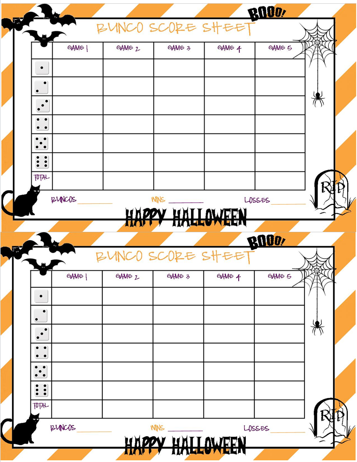 Recipes From Stephanie Halloween Bunco Sheet  Halloween