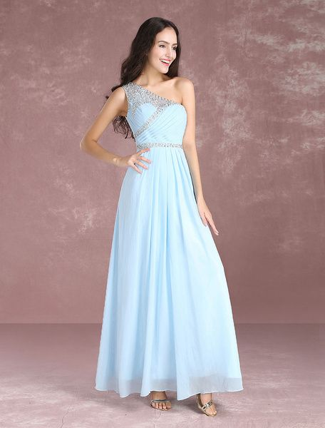 415858bd0789 Long Prom Dresses 2017 Pastel Blue One Shoulder Bridesmaid Dress Chiffon  Beading Floor Length Party Dresses
