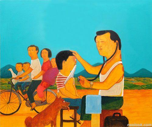 조문기, 돌림병, 캔버스에 아크릴채색, 60.6×72.7cm, 2010