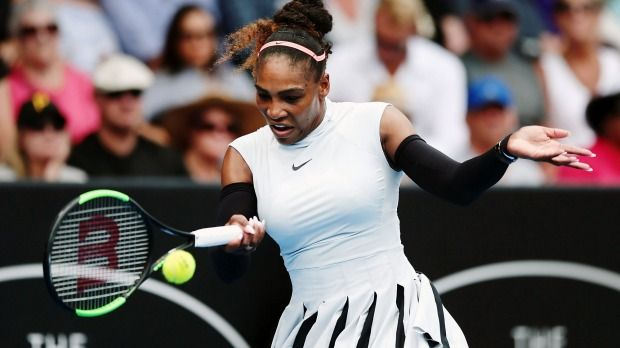 558b453c39cde3 Serena Williams Photos Photos - Serena Williams of USA plays a forehand in  her match against Pauline Parmentier of France on day two of the ASB Classic  on ...