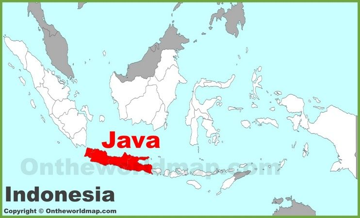 Java location on the Indonesia map Maps Pinterest Java and