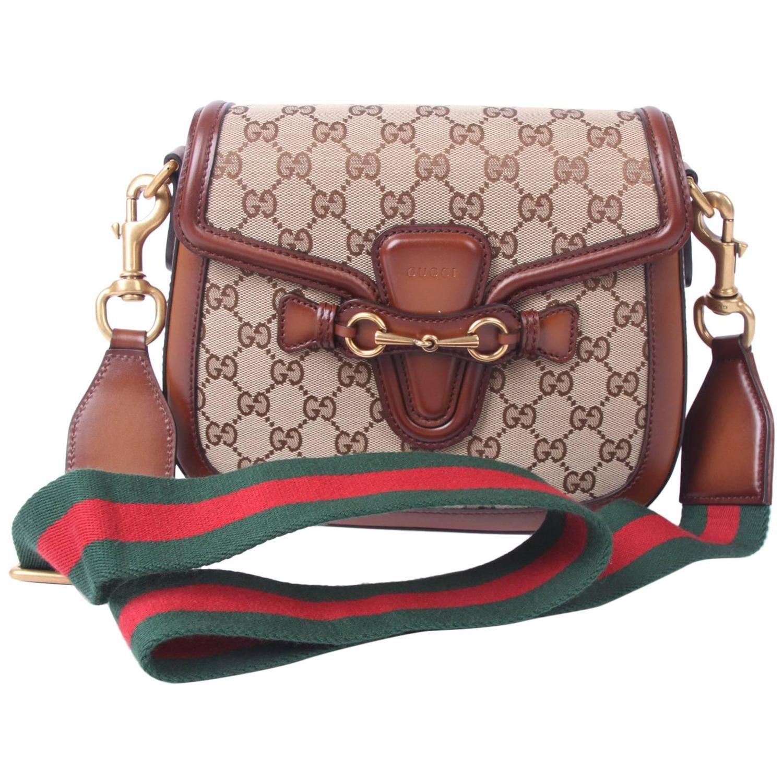 011649257ab19a Gucci Lady Web Shoulder Bag Medium Leather Canvas - brown | Fashion ...