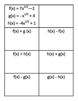 Composition Of Functions Practice Cards Composition Calculus Notations