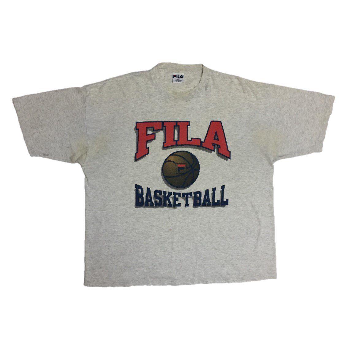 90s FILA Basketball T-Shirt. X-Large. Made in USA.