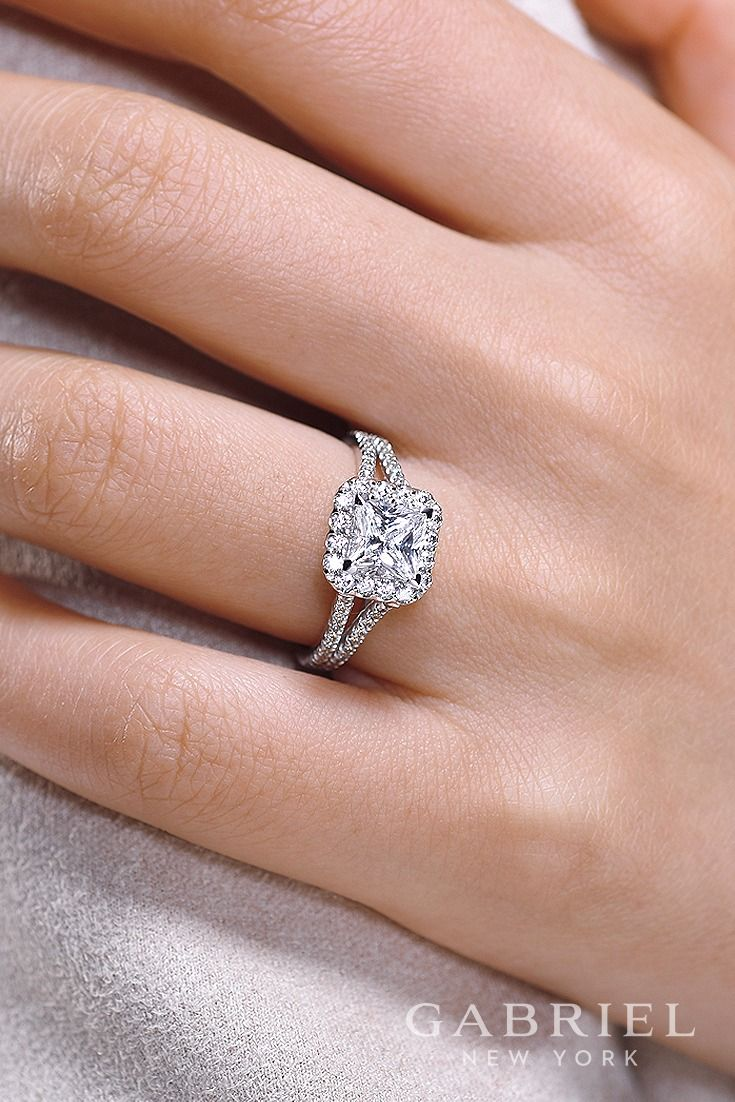 Halo Princess Cut White Gold Engagement Ring | Halo Engagement ...