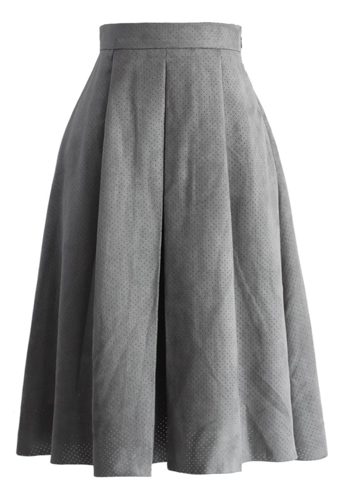Eyelet Full A-line Suede Skirt in Grey - New Arrivals - Retro, Indie and Unique Fashion