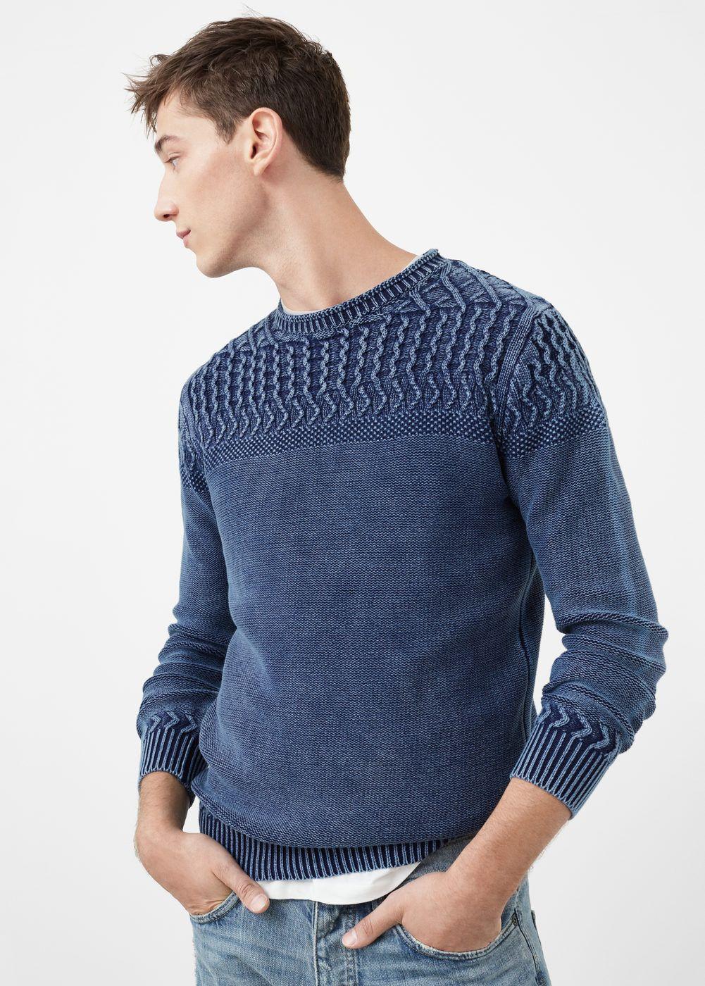 Contrasting knit sweater - Men | MANGO Man USA