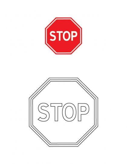 Stop Traffic Sign Coloring Page Download Free Stop Traffic Sign
