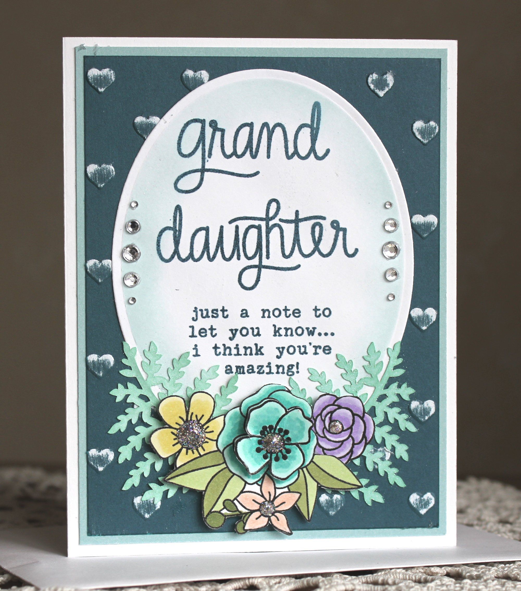 Photo of Handgestempelte Karte für Enkelin, Karte für jeden Anlass für eine Enkelin. Abschlusskarte, Geburtstagskarte, personalisierte Grußkarte,