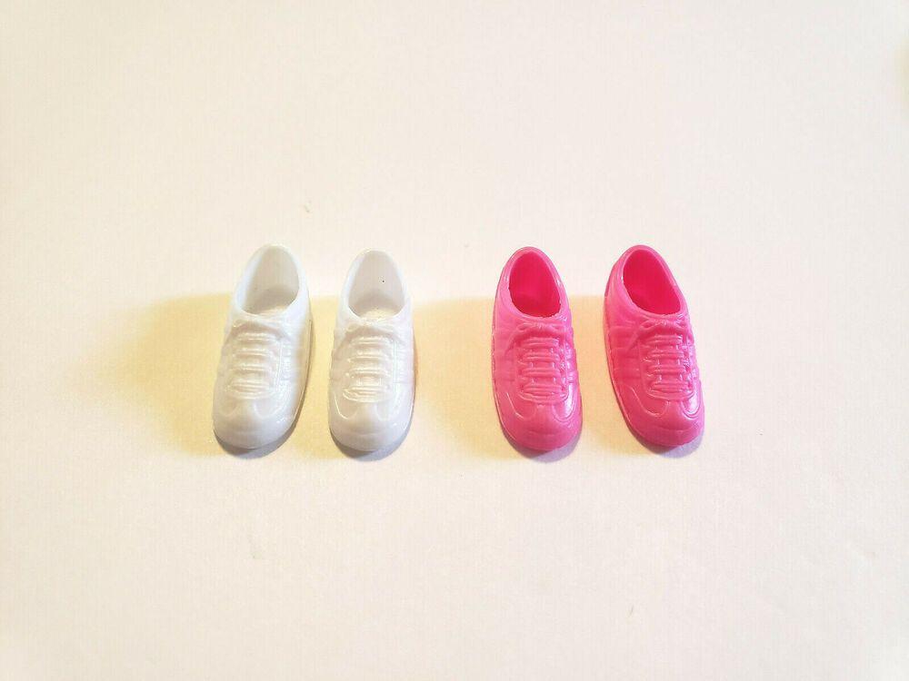 2 Pair Vintage Barbie Skipper Courtney Pink White Tennis Shoes Sneakers EUC