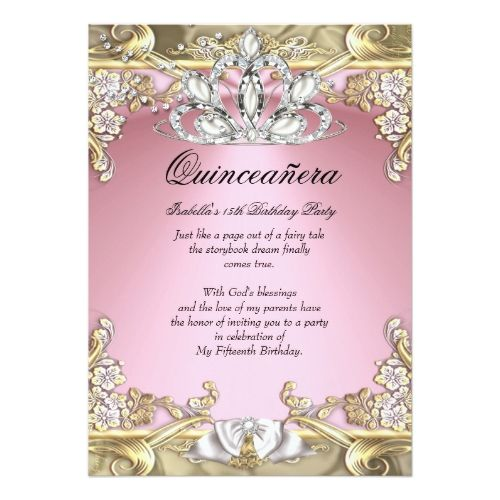 quinceanera pink gold 15th birthday party invitation in 2018 pink