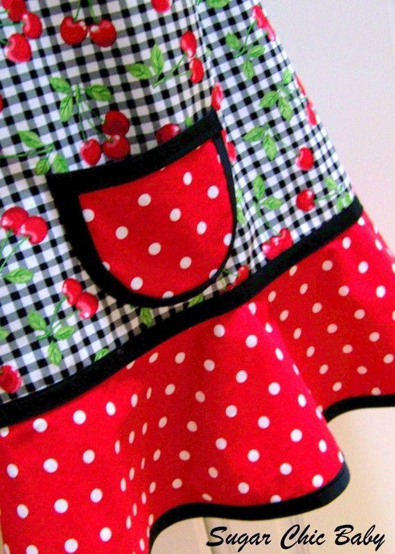 Girls Cherry Apron Kids Cherry Apron Little Girls by SugarChicBaby