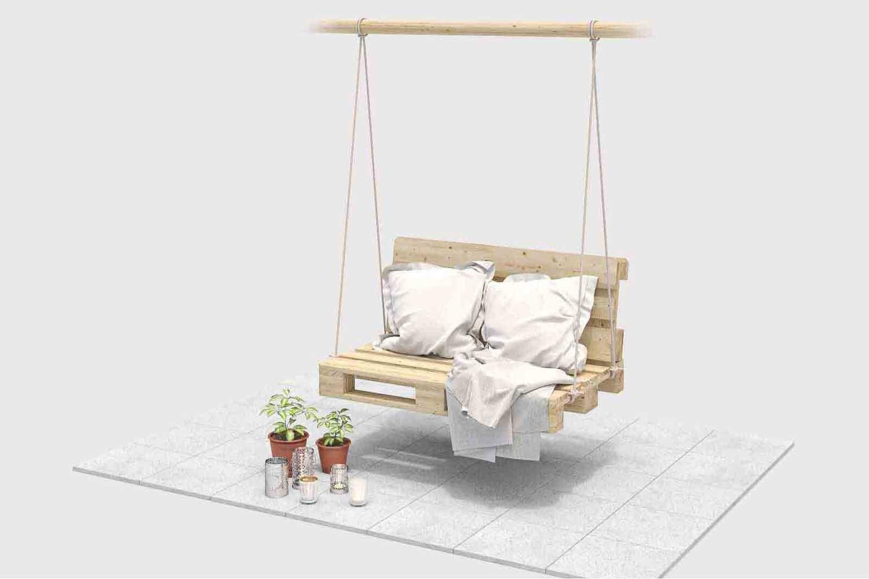 Schaukel Baumelig selber bauen - Gartenmöbel #palettendeko