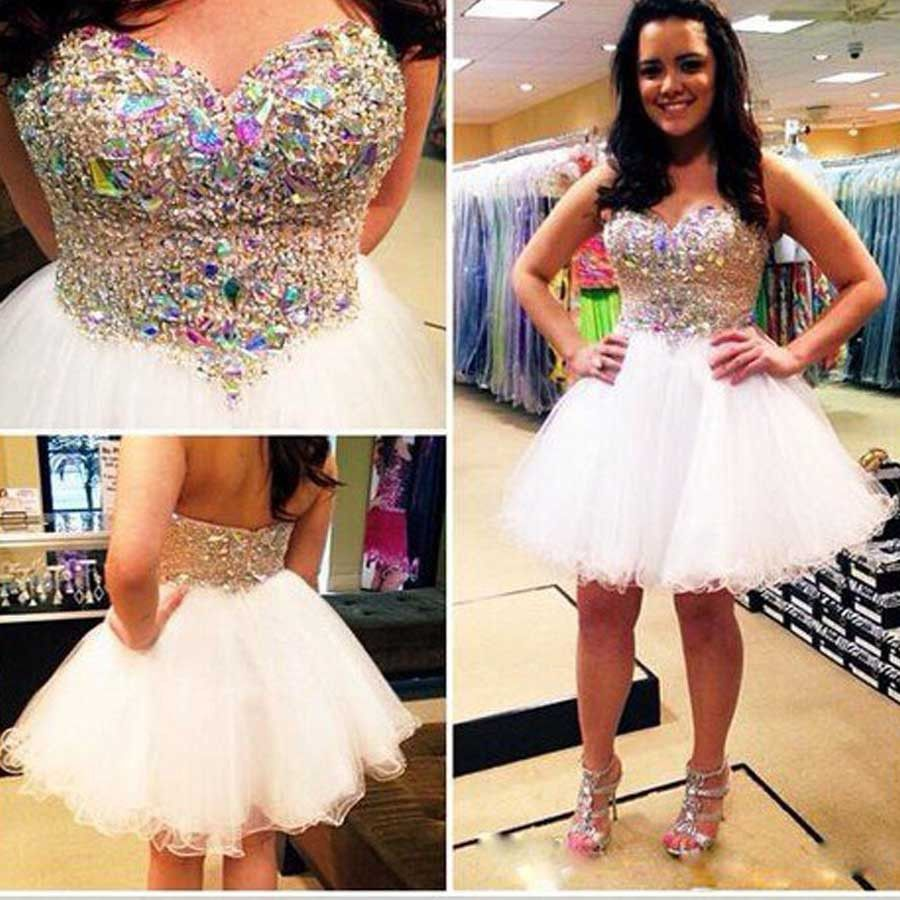 Short strapless sweetheart mini sparkly lovely homecoming prom dress